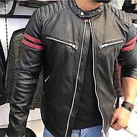 Мужская весенняя куртка из кожзама с нагрудными карманами черная с  бордовыми вставками feb8080980622