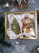 Набор стеклянных елочных игрушек Снеговик с подарками и елка Irena, фото 3