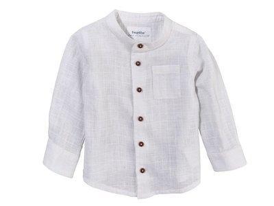 Рубашка белая из лена для мальчика  Lupilu р.62см
