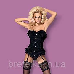 Корсет черный с вертикальными косточками стринги в комплекте Obsessive Baletti