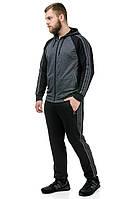 Спортивный костюм мужской черный с серым