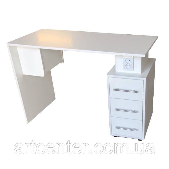 Стол для маникюра с розетками, маникюрный стол однотумбовый