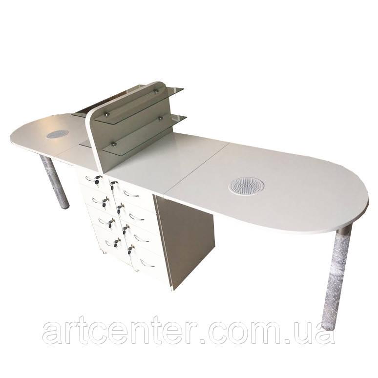Стіл для манікюру на два робочих місця, манікюрний стіл на два робочих місця