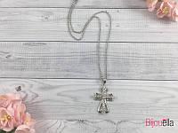 Серебристый крестик с камнями подвеска на шею 18795 украшение на шею