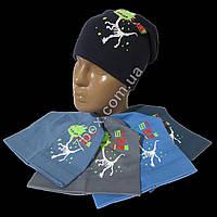 Детская шапка для мальчиков дракончик. Однослойная трикотаж 3-8 лет