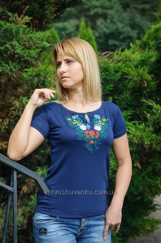 Вишиті жіночі футболки ВОЛОШКА А-6