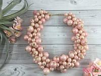 Объемные светло-розовые бусы на шею 18794 красивое колье на шею