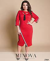 Красное женское платье с эффектом запаха большого размера