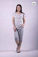 Піжама жіноча футболка з бриджами р. 44-56