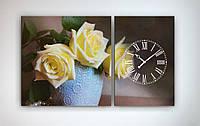 Модульная картина с часовым механизмом Цветы 100х60 2 модуля
