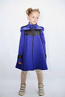 Детское кашемировое пальто-пончо, с отделкой из кожзама