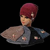 Детская шапка х/б+трикотаж для девочек 5-8 лет Украина