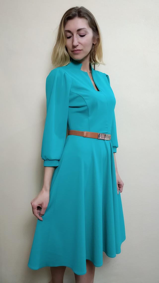 6d36f14b8de Мятное офисное платье с рукавом три четверти П230