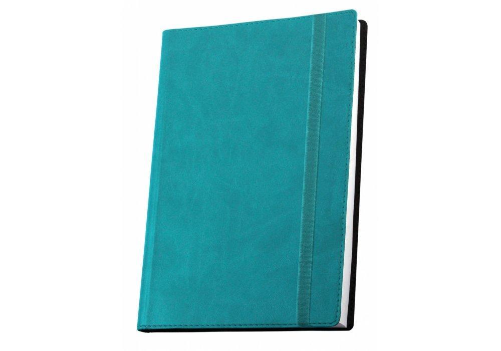 Ділова записна книжка А5 з гумкою, Vivella, колір обкладинки -бірюзовий