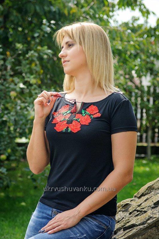 Вишита жіноча футболка КОЛІР Троянди А-14