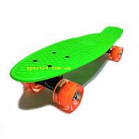 Салатовий пенні борд 22 (Penny board 22) помаранчеві світяться колеса, до 80 кг
