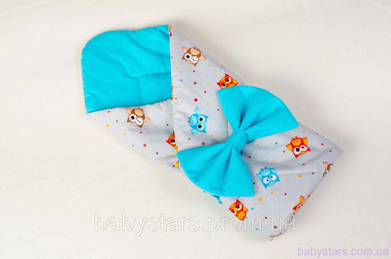 """Одеяло-конверт демисезонное 80х85 см, """"Веселые совы"""" цвет бирюзовый"""