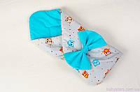 """Одеяло-конверт демисезонное 80х85 см, """"Веселые совы"""" цвет бирюзовый, фото 1"""