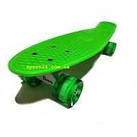 Салатовий пенні борд (penny board) 22 салатові світяться колеса, до 80 кг