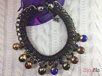 Колье с переплетами цепью украшенное бусинами стильное ожерелье 18787