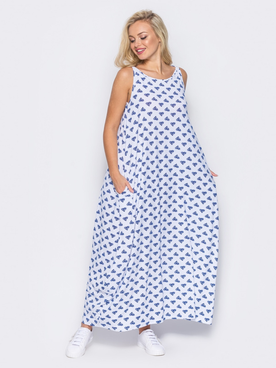 4032244952a 💎Легкое Белое Платье Макси с Карманами (без Застежек