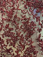 Дорогая ткань сетка принт с камнями для свадебных и выпускных платьев