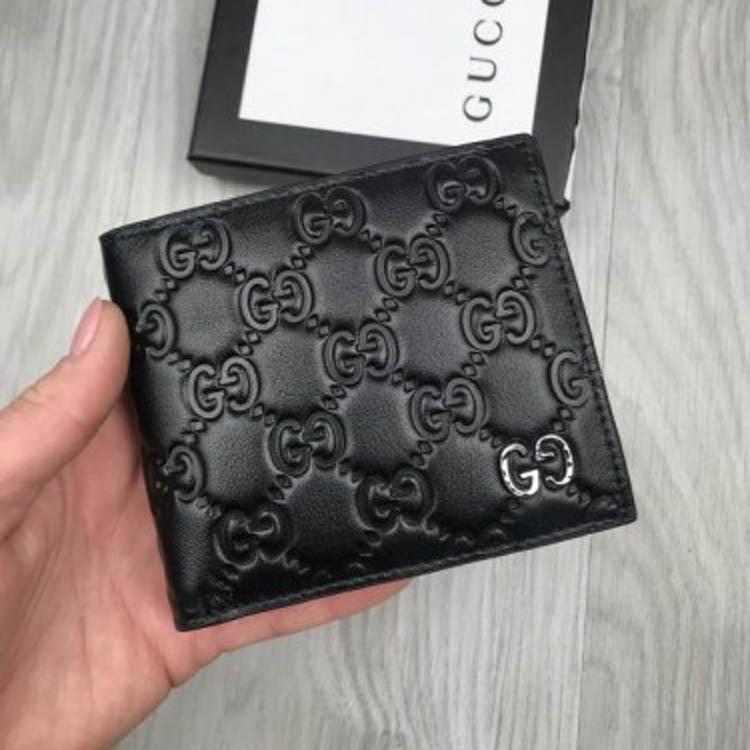 76d793c1988f Компактный кожаный женский кошелек Gucci GG тиснение черный натуральная  кожа бумажник Гуччи премиум реплика - Ваш