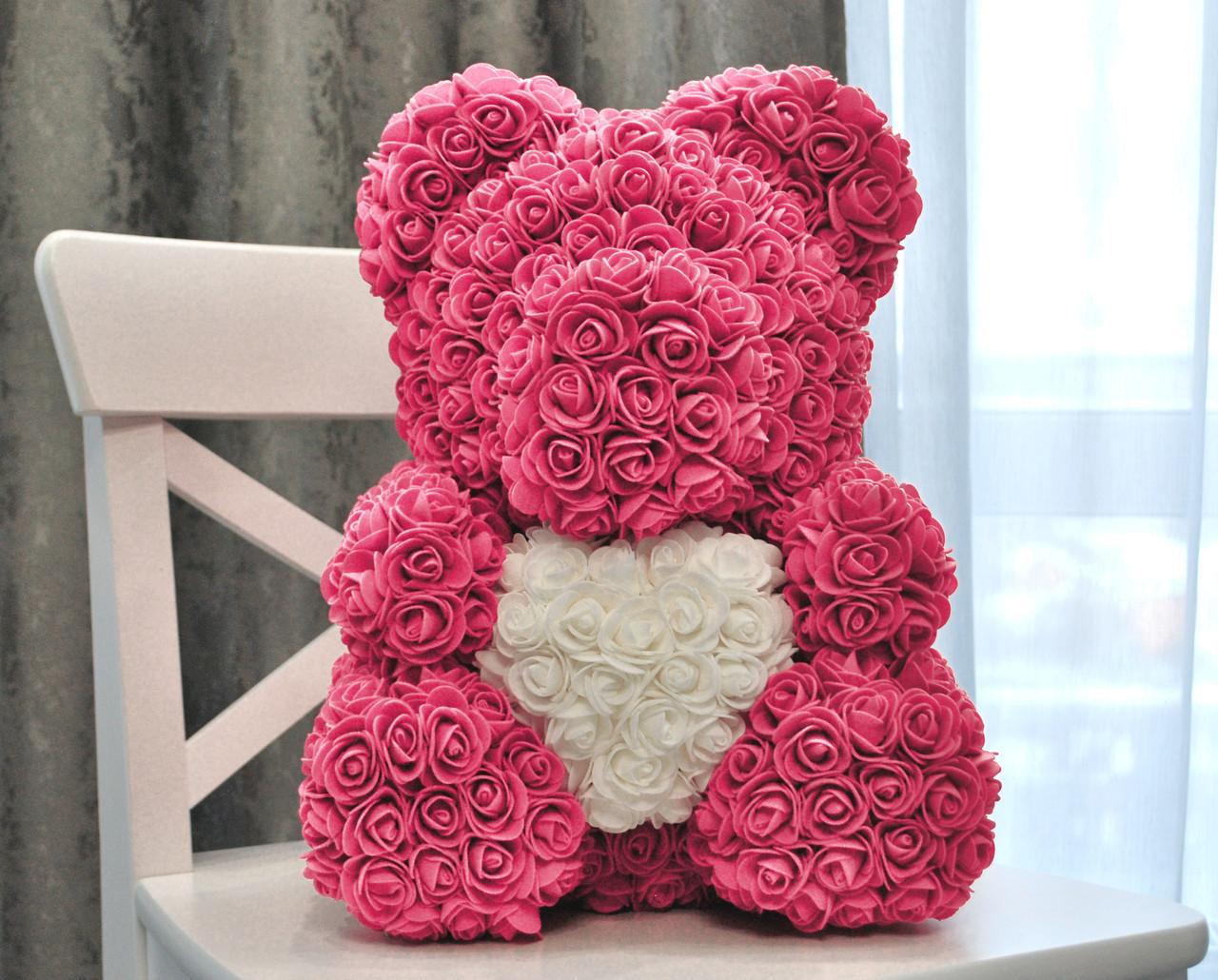 Мишка из роз с запахом, в подарочной коробке (40 см)