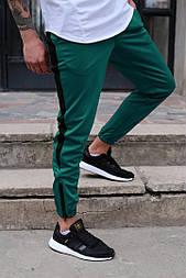 Мужские штаны спортивные Rocky зеленые с черным. Живое фото