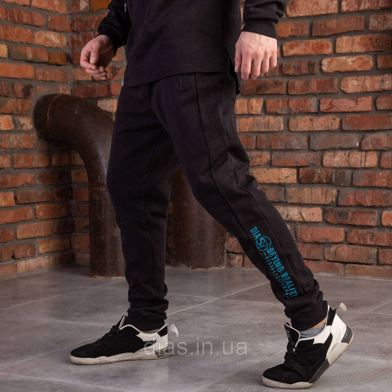 """Штани чорні спортивні для чоловіків на манжетах """"DIAS"""""""