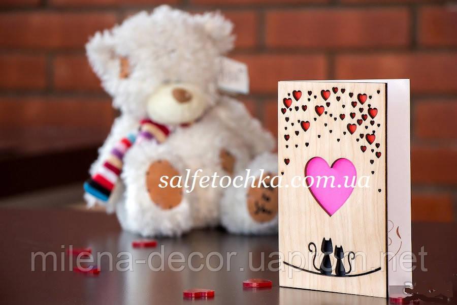 Деревянная открытка на День Св. Валентина !