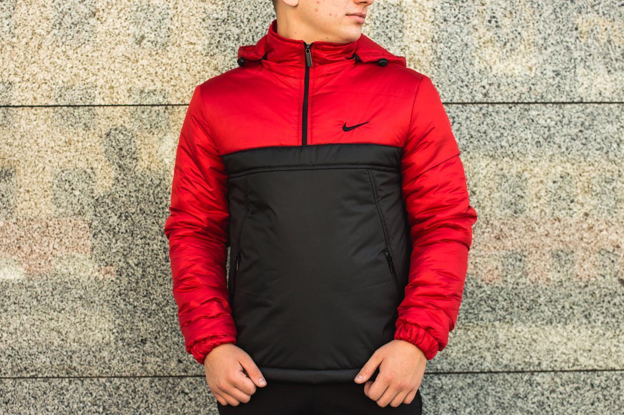 Комплект Анорак Nike утепленный на синтепоне + спортивные штаны, мужской черно-красный осенний/весенний, фото 1
