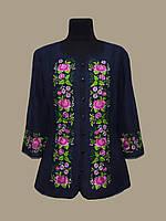 Женская льняная вышиванка блуза Веснянка темно-синяя
