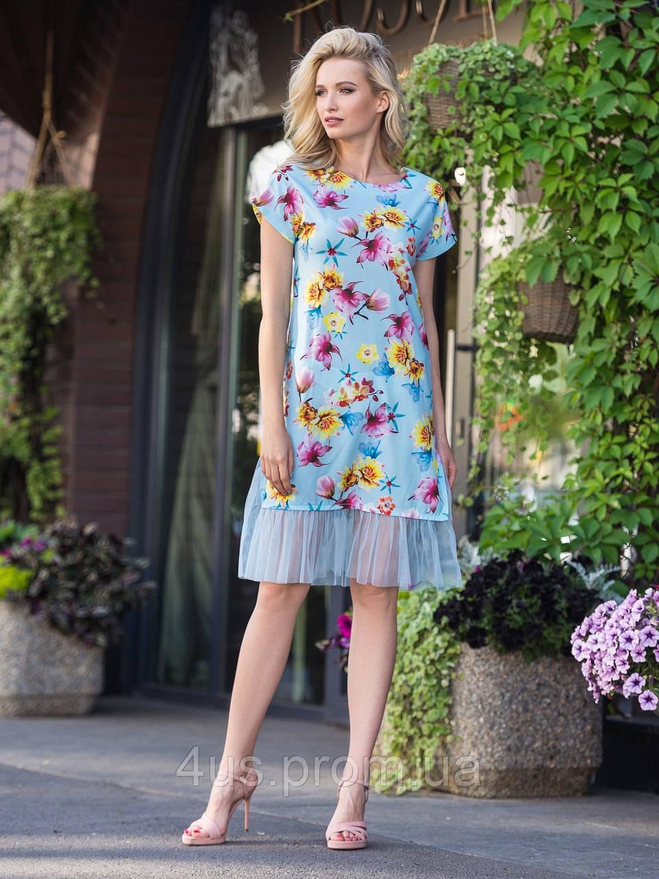 0ccbc56357e ✉️Лёгкое платье в яркий цветочный принт   Размер 44