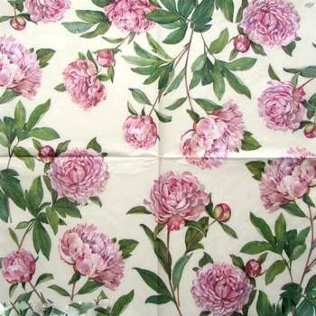Декупажная салфетка Розовые пионы 4161