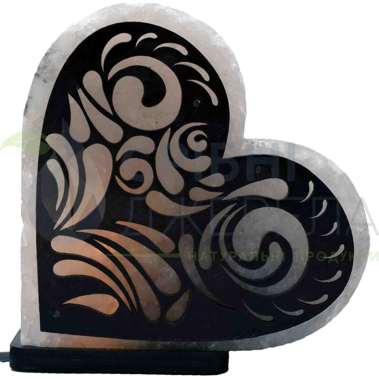 Соляна лампа Серце з візерунком №2, 3-4 кг