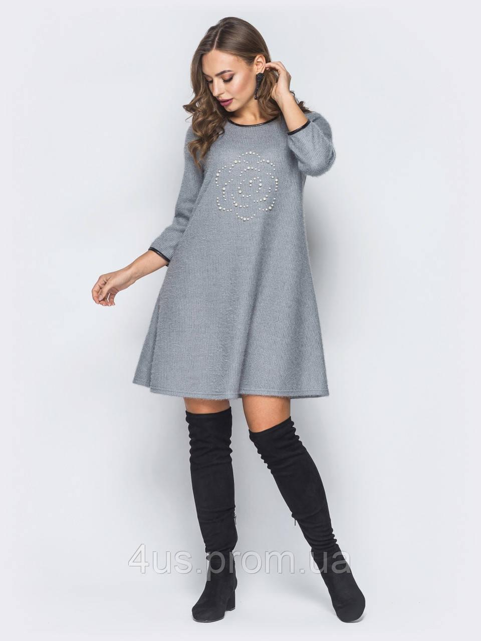 afd3d319fd2 ✉️Трикотажное платье-трапеция с красивым декором (серое