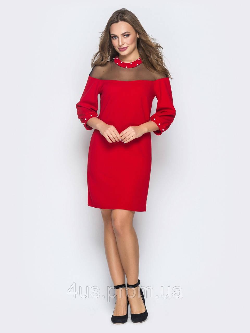 e914f561abc ✉️Красное платье с прозрачной кокеткой (декор из бусин