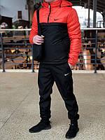 Комплект Анорак Nike утепленный на синтепоне + спортивные штаны, мужской черно-алый осенний/весенний, фото 1