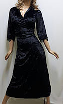 """Женский длинный велюровый халат на запах с гипюром большого размера от 50 до 62, """"Сердце Богини"""", фото 3"""