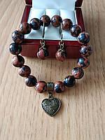 Комплект из натурального сине-коричневого авантюрина - браслет и серьги