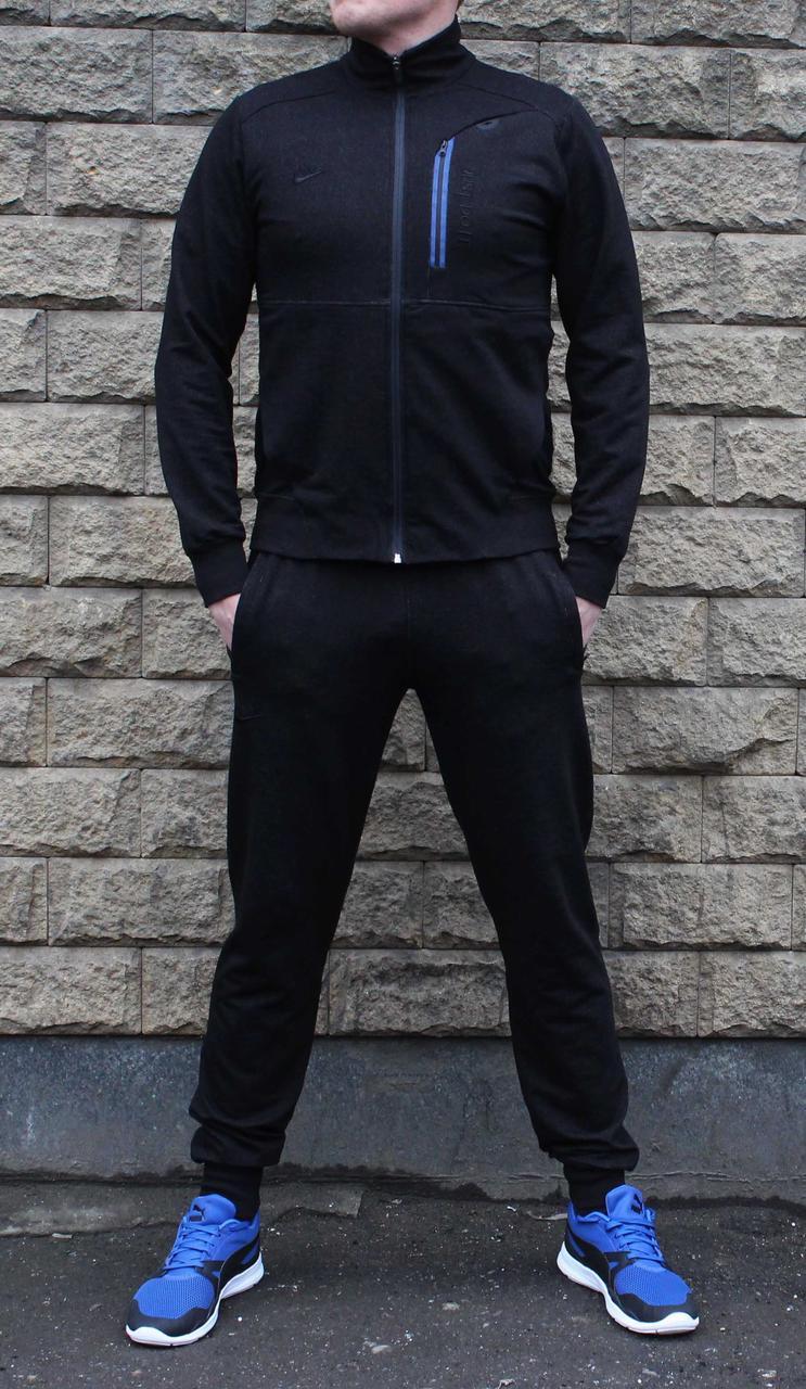 Весенний черный трикотажный спортивный костюм с штанами на манжетах 50 размер   (Реплика)