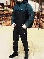 Комплект Анорак Nike утепленный на синтепоне + спортивные штаны, мужской черно-зеленый осенний/весенний