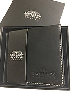 Savile Row Company Брендовая мужская черный кожаный портативный кошелек портмоне- клатч.