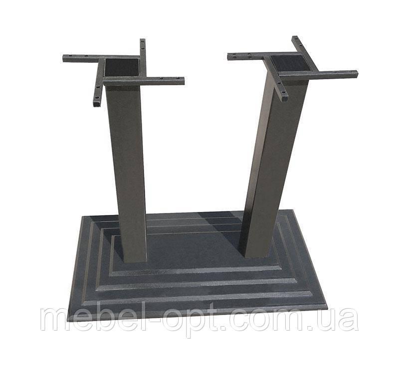 База опора стола Ле Ман Дабл двойная черная чугунная 400х800 мм, высота 1100 мм,  для бара, кафе, ресторана