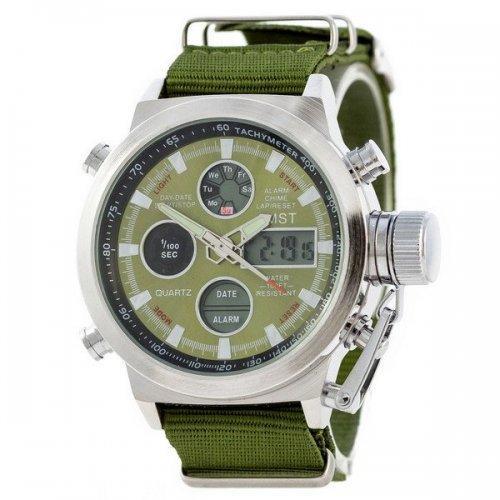 Чоловічий наручний годинник AMST 3003 Срібно-Зелений (SUN3344)