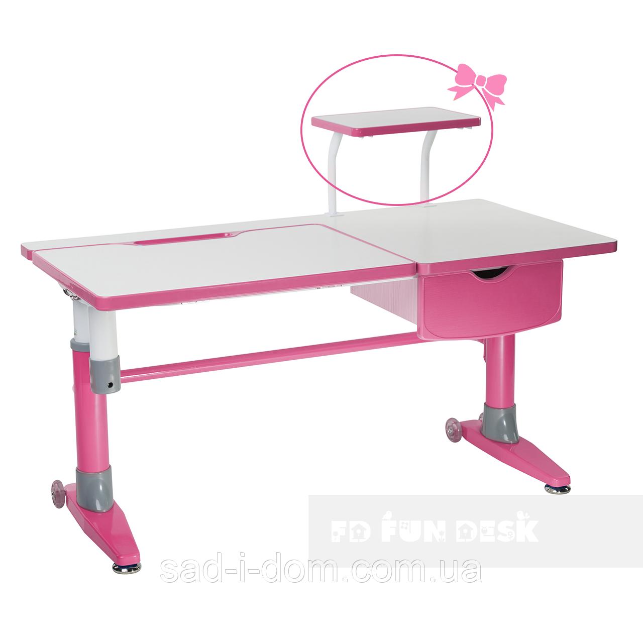 Парта-трансформер для школьника с выдвижным ящиком  FunDesk Ballare розовая