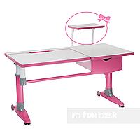 Парта-трансформер для школьника с выдвижным ящиком  FunDesk Ballare розовая, фото 1