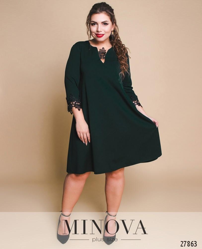 b66b1058f32 Зеленое женское платье с кружевной отделкой большого размера 56 - Одежда  больших размеров PlusSize+ в Харькове