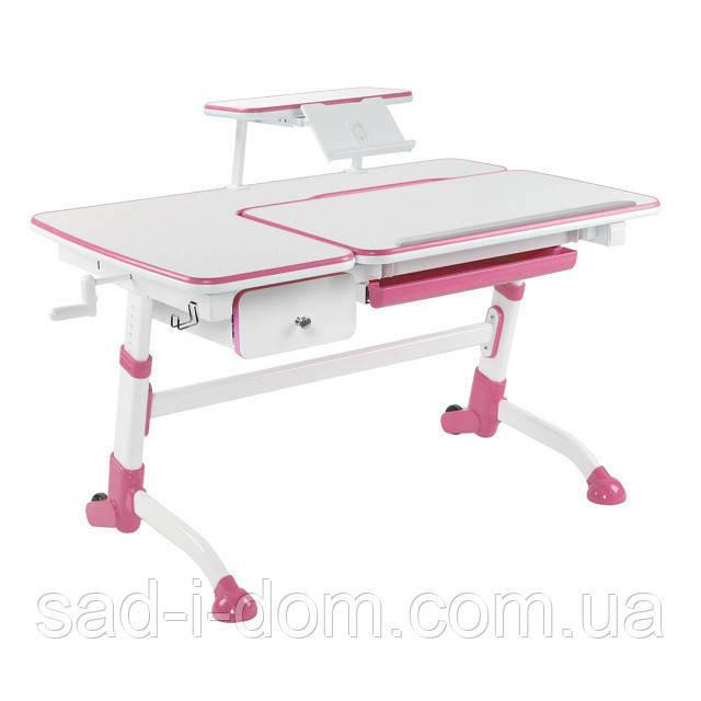 Детский стол с выдвижным ящиком и полкой для книг, розовый
